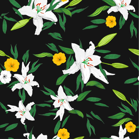 allover: White Lily Flowers Print