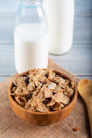Oat cereal and rice flakes with milk