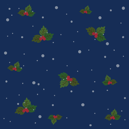 the holly leaves and snow vector on blue background.
