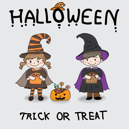 the girl and boy are wearing Halloween costume.Trick or treat.