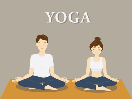 the yoga couple in lotus pose