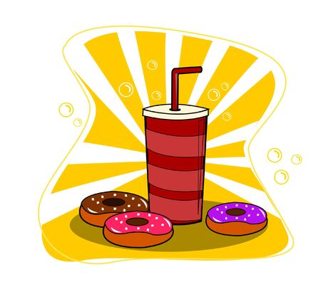 Donuts and cup of soda vector on yellow background.
