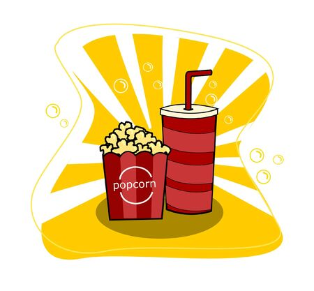 The popcorn and cup of soda vector on yellow background.