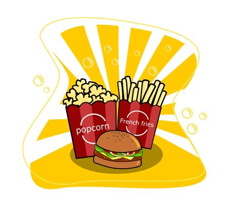 hamburger and french fries with popcorn vector on yellow background.