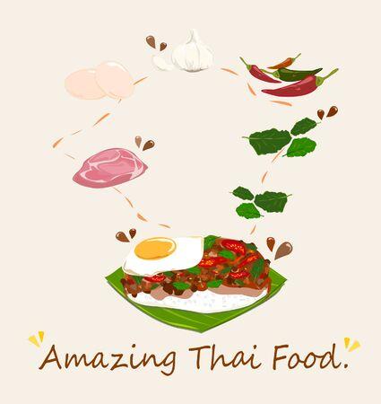 Pikantna tajska bazylia z wektorem wieprzowiny i jajka (Pad Krapow Mhoo Sub). to bardzo smaczne tajskie jedzenie. Ryż posypany smażoną wieprzowiną i listkami bazylii. uliczne jedzenie w Tajlandii.