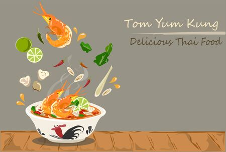 Tom Yum Kung Thai hot and spicy soup vector design.