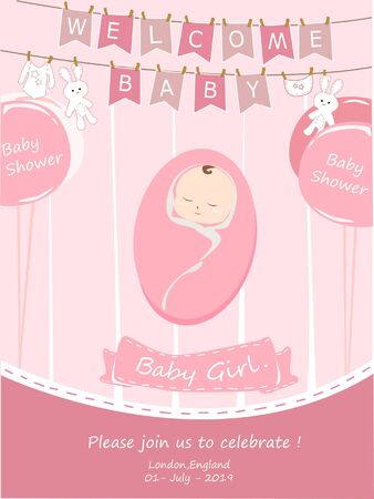Vector Illustration. Design template card with hand lettering for baby shower. Illustration