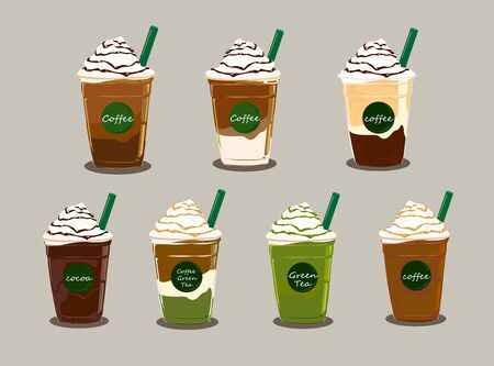 The set of coffee and green tea with whipped cream on grey color background.
