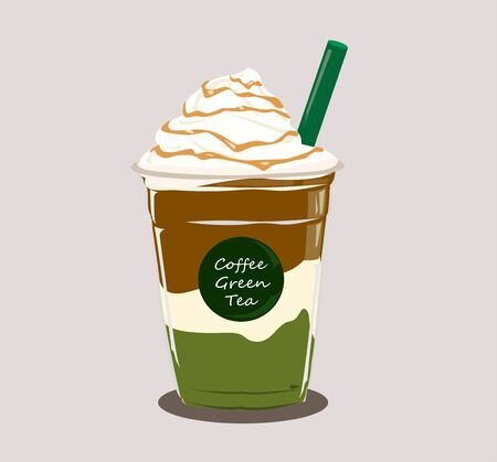 coffee and green tea with whipped cream on grey color background. Illusztráció