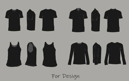 Het shirt ontwerp zwarte kleur, voorkant, zijkant, achterkant.