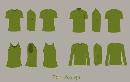 The shirt design green color,front,side,back. Illustration