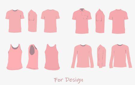 The shirt design pink color,front,side,back.