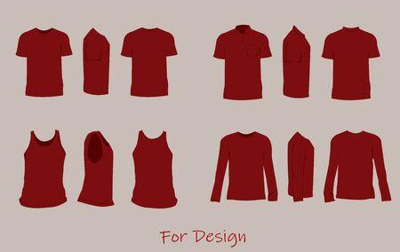 The shirt design red color,front,side,back. Illustration