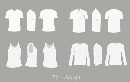 The shirt design white color,front,side,back. Illustration