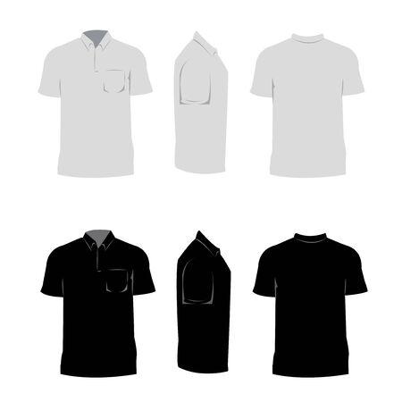 T shirt design black and white color,front,side,back. Illustration
