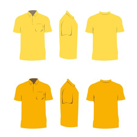 T shirt design yellow color,front,side,back.