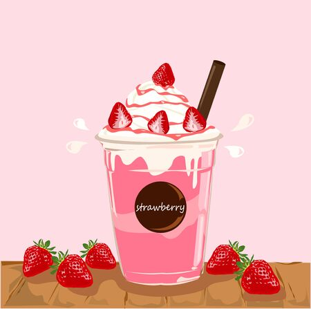 The delicious smoothie strawberries vector.