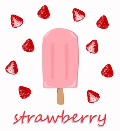 The delicious ice cream bar with ripe strawberries vector.