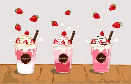 The set of delicious smoothie strawberries vector.