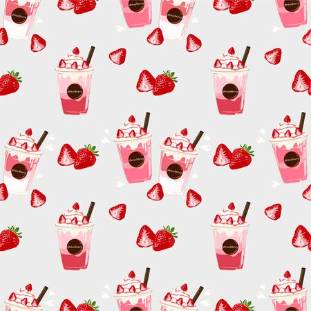 The red ripe strawberries vector seamless on grey background. Illustration