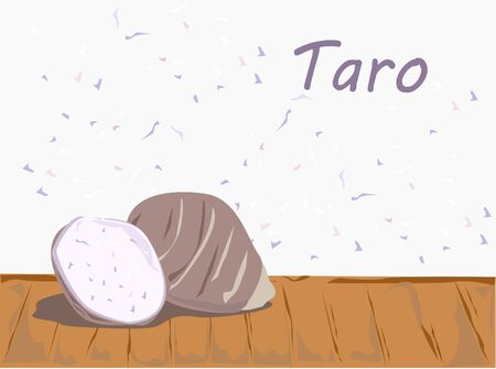 The taro on wooden table vector.