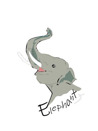 The head of elephant vector.Hand drawing.