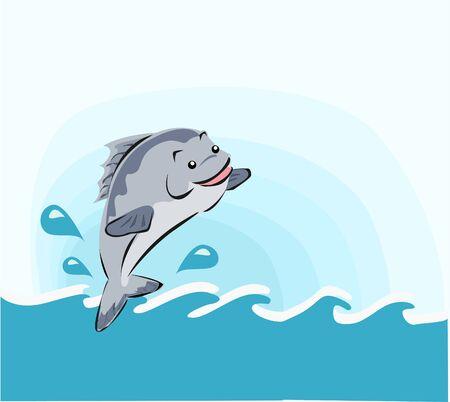 Jumping fish and ocean wave cartoon vector. Illustration
