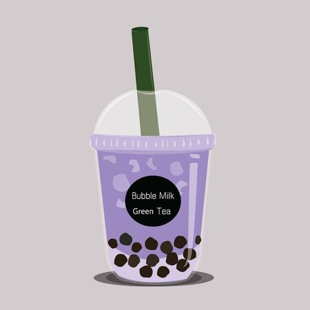 The bubble milk tea.Black pearl milk tea is famous drink large and small cup vector.