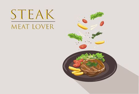 Western Food, Steak isolated on brown Background.