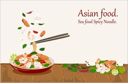 Tasty Spicy Noodles with seafood in plate and pair of chopsticks - vector illustration.