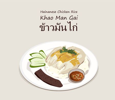 Hainanese chicken rice (Thai name is Khao Man Gai) vector. one of the most popular Thai street food. Stok Fotoğraf - 131901192