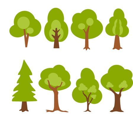 Set of trees Vector. Cartoon icons vector illustration.