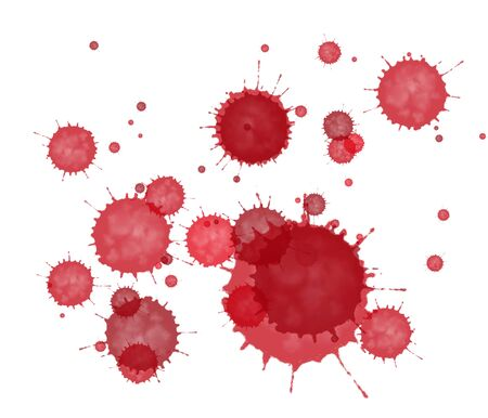 Éclaboussure d'encre rouge abstraite texturée sur fond blanc.