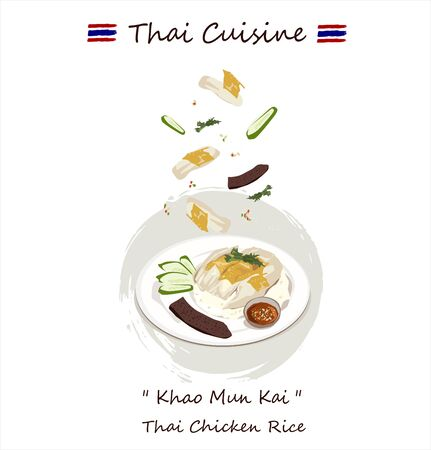 Chicken rice (Thai name is Khao Man Gai) vector. one of the most popular Thai street food.