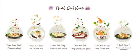 Thai cuisine set.Set of Delicious Thai food vector isolated on white background.Thai cuisine vector Somtum Khao-mun-kai  Khaopad   Pad-kra-paw   Tom-yum-kung   Pad-thai. 向量圖像