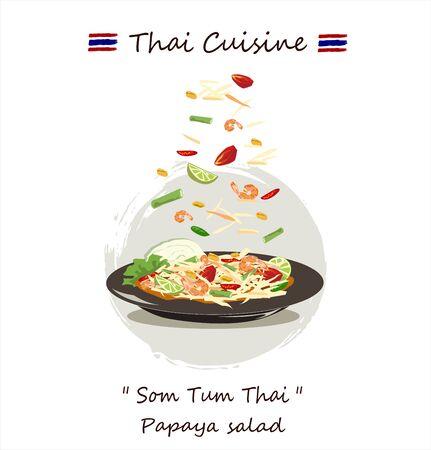 Sałatka z papai lub som-tum na białym tle. , tajskie jedzenie. ręcznie rysowane szkic wektor eps10.