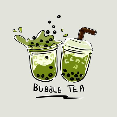 the bubbles black pearl in matcha green milk tea vector on grey color background.