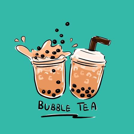 The bubbles black pearl in milk tea vector on green color background. Illustration