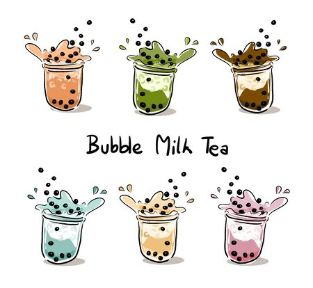 The bubble milk tea.Black pearl milk tea is famous drink many cup vector.Set of Bubble Milk tea. Illustration