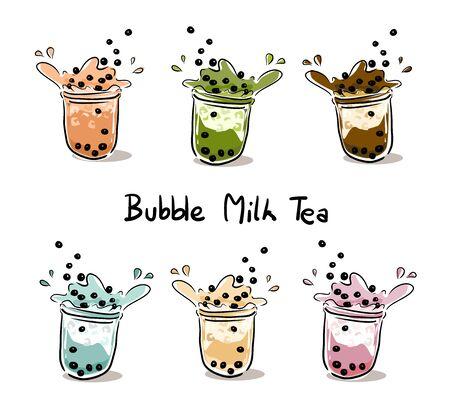The bubble milk tea.Black pearl milk tea is famous drink many cup vector.Set of Bubble Milk tea. Ilustração