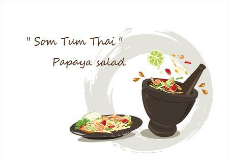 Papaya salad and ingredients on white background.