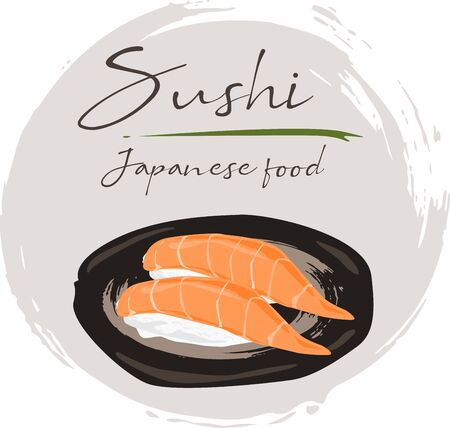 Illustration of roll sushi with salmon. Sushi menu. Japanese food isolated in black plate on white background. Illusztráció