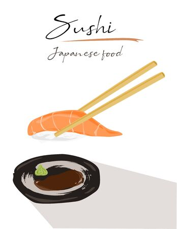 Chopsticks holding salmon sushi  Isolated on white background. Side view, Vector Illustration. Illusztráció