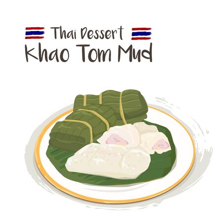Khao Tom Mud - Steamed Sticky Rice with Banana on white plate isolated on white background.Thai dessert.