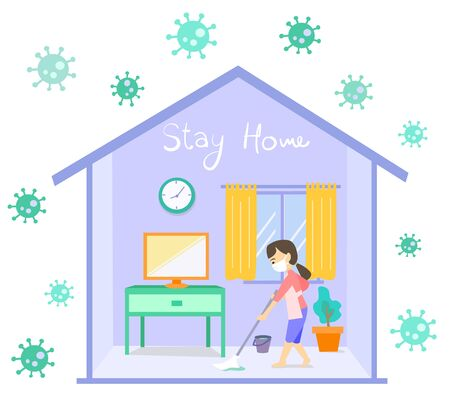 Cute character, A woman clean up the floor in her home quarantine from COVID-19 concept cartoon vector on white background.