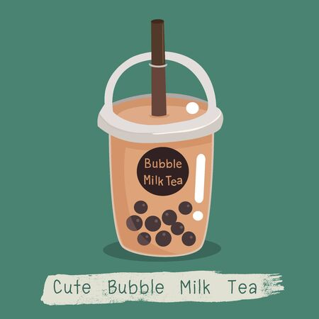 The bubble milk tea. black pearls is Taiwanese famous and popular drink cup. Ilustração Vetorial