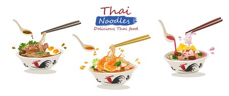Set of Thai noodles ; Tom Yum Kung noodle , Yen ta fo noodle and braised pork noodle. illustration vector on white background. Ilustração