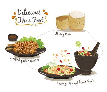 Set of Thai food; Sticky rice, Grilled pork skewers, and Papaya salad vector illustration on white background. Thai traditional menu. Ilustrace