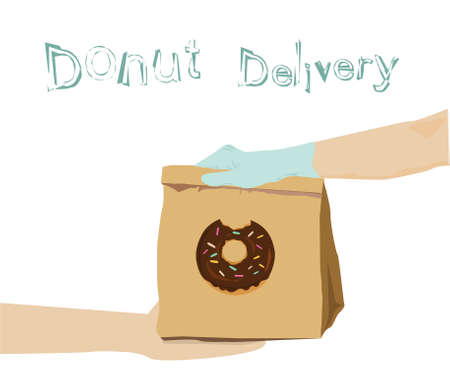 Hand holding delivery donut send to custumer on white background. Theme of Safe food delivery during coronavirus pandemic. Vectores