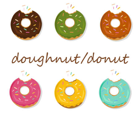 Set of cartoon colorful donuts isolated on white background. Top View Doughnuts collection into glaze for menu design.menus, culinary blogs, stationery. vector illustration.